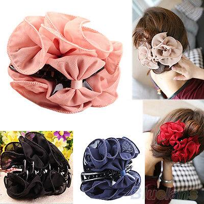 Charmful Women Chiffon Big Rose Flower Bow Jaw Clip Barrette Hair Claw Hair Clip