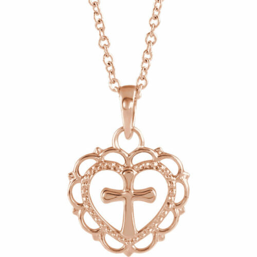 Heart with Cross Youth 18 Necklace In 14K Rose Gold