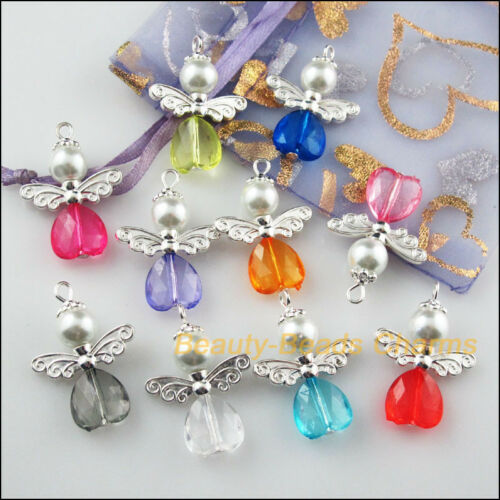 10Pcs Silver Plated Wings Mixed Heart Dancing Angel Charms Pendants 22x30mm