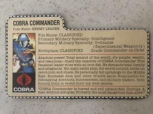 Vintage 1983 ARAH GI Joe Cobra Commander Enemy Leader bio file card ONLY