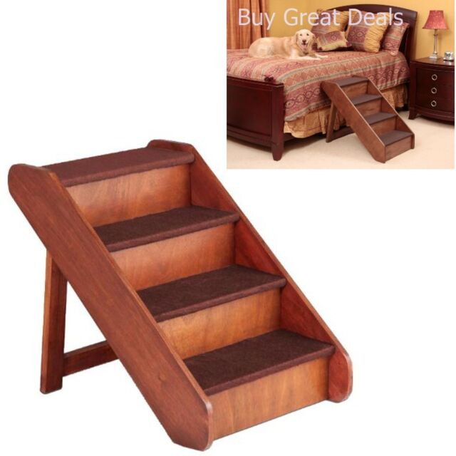 Folding Extra Large Wood Dog Stairs Pet Durable Ladder Ramp Bed Steps 25 Tall For Sale Online
