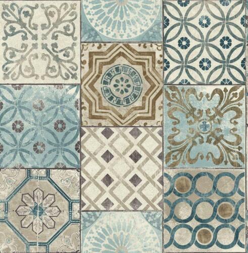 Wallpaper Faux Encaustic Mederterrian Tile Blue Gray Tan Beige Off White