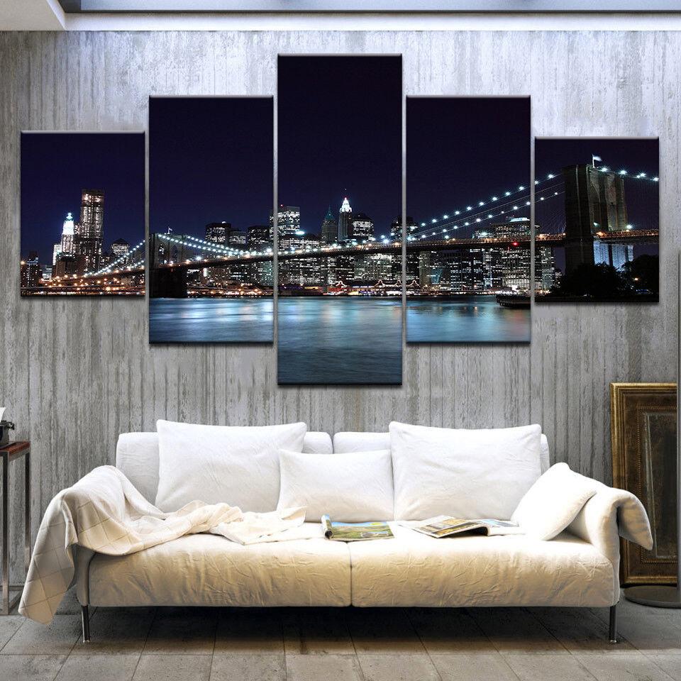 New York City Brooklyn Bridge Night Skyline 5 Panel Canvas Print Wall Art