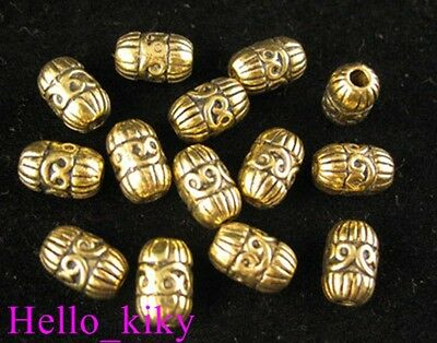 40pcs Antiqued gold plt heart barrel spacer beads A421