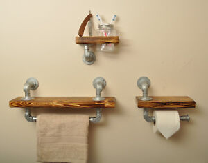 Industrial-Pipe-Solid-Wood-Bathroom-Shelf-Set-Vintage-Kilner-Jar-Retro-Style