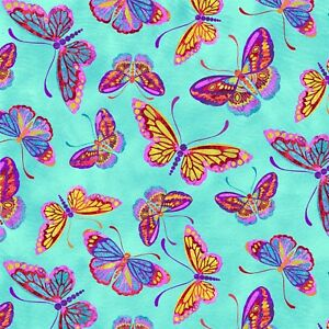 Fabric-Butterflies-Many-Colors-on-Turquoise-Blue-Cotton-by-the-1-4-yard-BIN