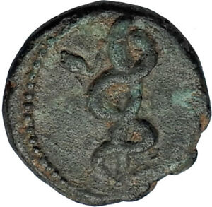 PERGAMON-in-Mysia-200BC-Ancient-Greek-Coin-ASCLEPIUS-Medicine-SNAKE-STAFF-i67990