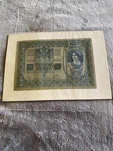 Pre-WWI-Currency-1000-Tausend-Kronen-Bank-Notes-Austria-Hungary-1902-Good-Cond
