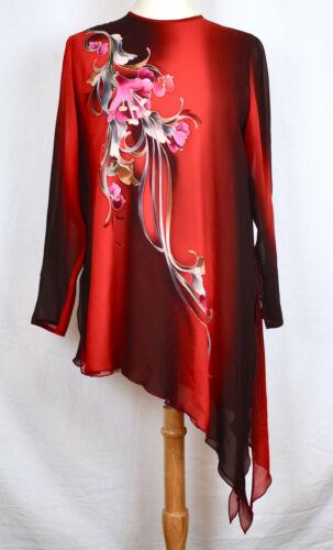 YOLANDA LORENTE Hand Painted Silk Asymmetrical Tu