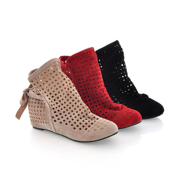 Womens Hollow Out shoes Faux Suede Wedge Heels Ankle Boots Sandals UK Size S202