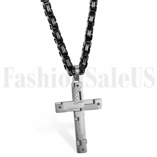 Stainless Steel Matching Cross Pendant Necklace for Men Boys 5mm Byzantine Chain