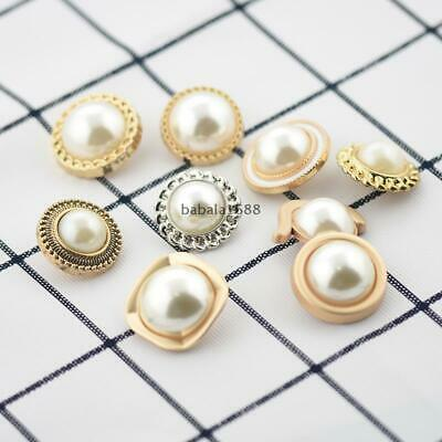 20PCS White Resin Pearl Shaped Shank Buttons Shirt Suit Sewing Craft DIY 11MM