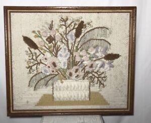 Stump Work Picture Frame 23X20 Tan Flower Boquet Basket 3D Embroidery Retro Vtg