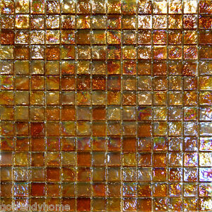 Details About 1sf Golden Brown Iridescent Gl Mosaic Tile Backsplash Kitchen Spa Sink Wall