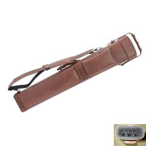 New-33inch-1-2-Cue-Case-3x5-8-Holes-Leather-Billiards-Pool-Tube-Case-Brown