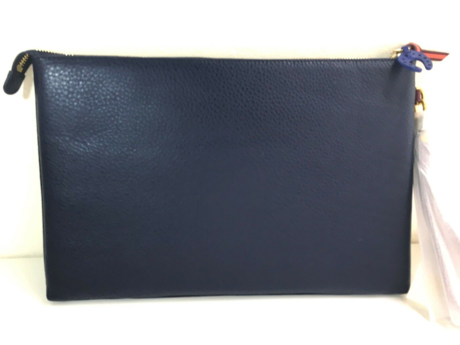 9f7028a2d19 Authentic Tory Burch Horse Large Pouch Clutch Leather Navy Blue Item 33438  for sale online