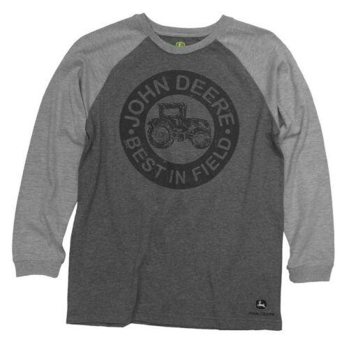 NEW John Deere Boys Gray Long Sleeve Best in Field T-Shirt 14//16
