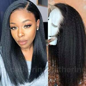 Pre-Plucked-Yaki-Kinky-Straight-9A-Indian-Remy-Human-Hair-Wig-Lace-Front-Wig-Jdf