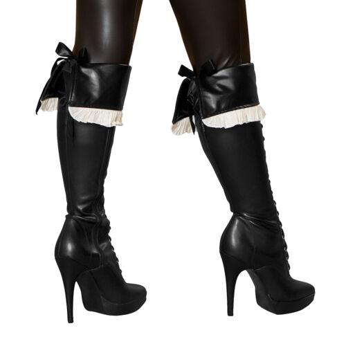 Piratenkostüm Stiefelstulpen schwarz Pirat Stiefel Stulpen zum Binden