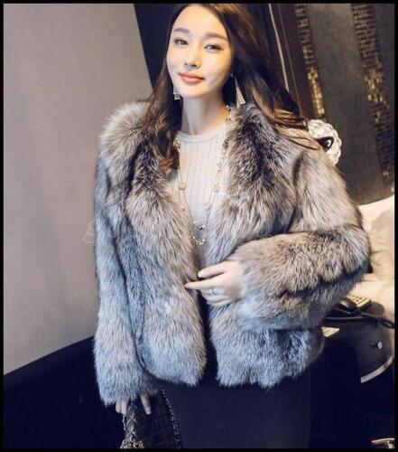 Womens Silver Fox Fur Coat Warm Hot Short Jacket Round Collar Luxury Outwear