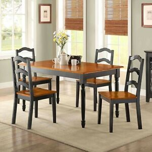 Details about Dining Room Table Set Traditional Solid Wood Kitchen Tables  And Chairs 5 Piece