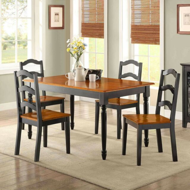 Dining Room Table Set Traditional Solid Wood Kitchen Tables And Chairs 5  Piece