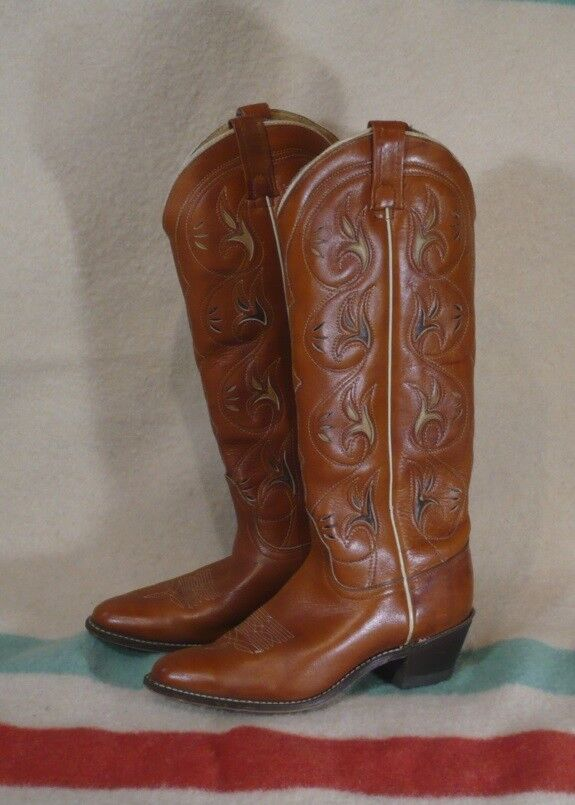 ACME Tall stivali Marroneee Leather SZ 6.5 M VG Cond Made in USA Vintage Beauties