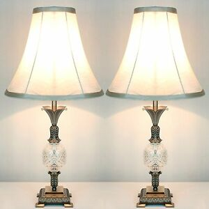 PAIR-of-Traditional-Antique-Style-Table-Bedside-LAMPS