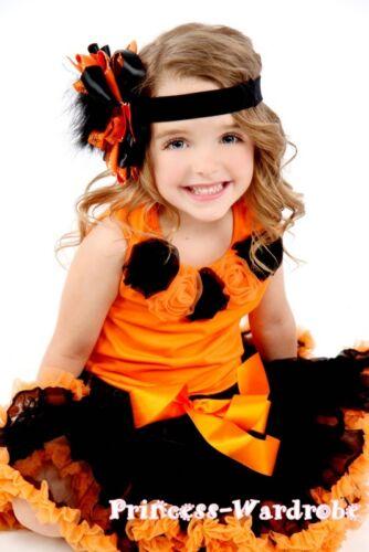 Halloween Black Orange Pettiskirt Top Mixed Rose 1-8Y