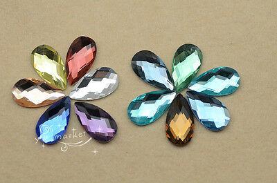 100 PCS 12mm x 22mm Tear Drop Glass Faceted Glass Flat Back Jewels