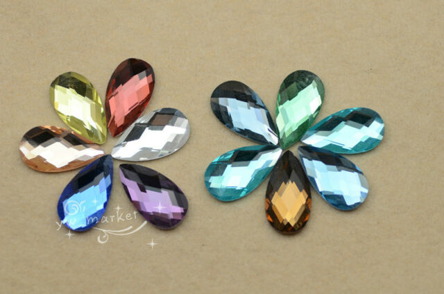 100 PCS 12mm x 22mm Tear Drop Glass Faceted Glass Flat Back Jewels