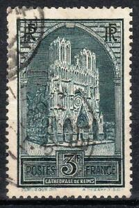 FRANCE-STAMP-TIMBRE-N-259-b-034-CATHEDRALE-REIMS-3F-TYPE-III-034-OBLITERE-TB-M539