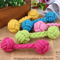 Dumbbell Chew Knot Toy Tough Strong Puppy Dog Pet Tug War Play Cotton Rope Ball