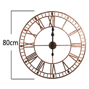 Large-Skeleton-Wall-Clock-Big-Roman-Numerals-Large-Open-Face-Metal-80cm-Round-UK