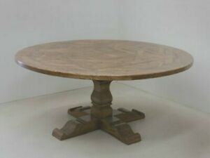 Details About 60 Restoration Salvaged Rustic Solid Wood Round Trestle Pedestal Dining Table