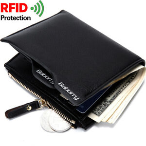 Mens-Bifold-Leather-RFID-Blocking-Black-Credit-Card-ID-Security-Zip-Wallet-Purse