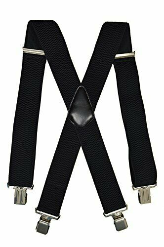 Men's XXL Extra Wide, Thick Fabric Heavy Duty X-Shape Braces/Suspenders