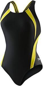 Speedo-Women-039-s-Swimwear-Black-Size-12-One-Piece-Swimsuit-Powerflex-74-967