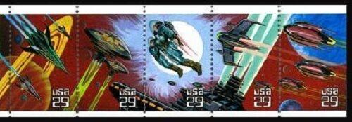 1993 29c Space Fantasy, Pane of 5 Scott 2741-45 Mint F/