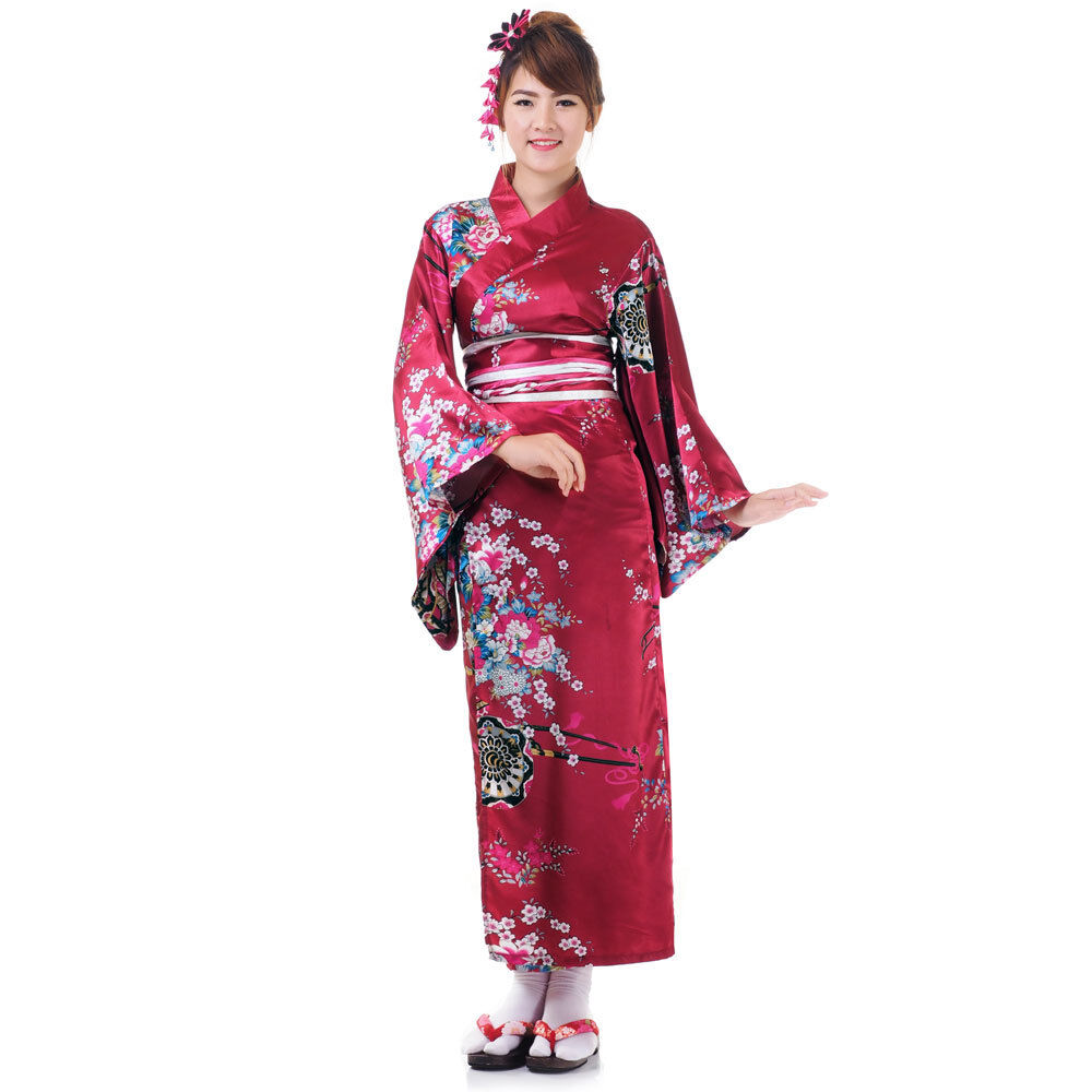 Traditional Japanese Woman Kimono Dress Wedding Robe
