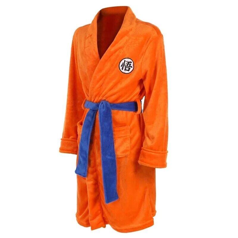Anime Dragon Ball Thermal Flannel Bathrobe Winter Men Thick Kimono Robe SonGoku