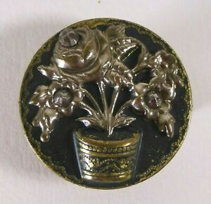 Bouton-ancien-Bouquet-relief-29-mm-Cut-Steel-Button-1-1-8-in