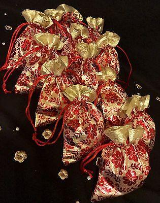 100 X Assorted Wedding Favour Bags Table Decoration Nikah Bid Velvet Bidh Bags