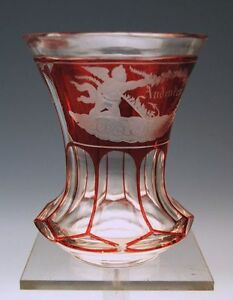 BIEDERMEIER-ANDENKEN-BECHER-GLAS-RUBINIERT-MEMORY-BEAKER-BOHMEN-BOHEMIA-UM-1850
