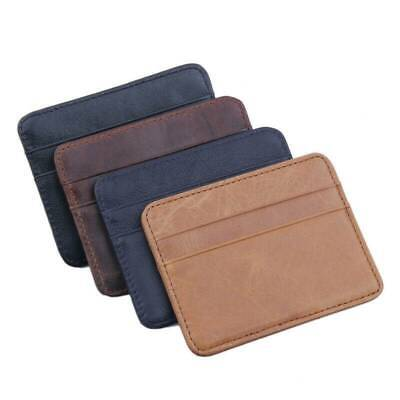 Unisex Men Women PU Leather Small Id Credit Card Wallet Holder Slim Pocket Case