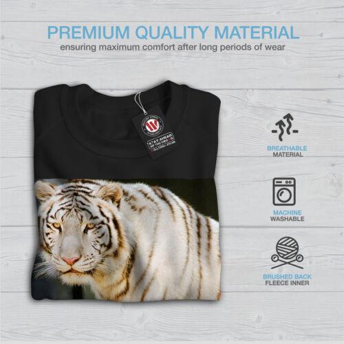 Rare Casual Pullover Jumper Wellcoda Wild White Tiger Animal Womens Sweatshirt