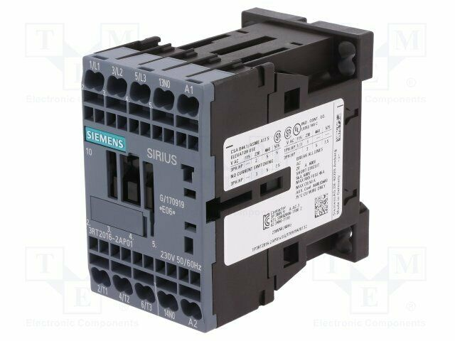 3RT2016-2AP01 Contactor:3-pole - Auxiliary contacts: NO - 230VAC - 9A - NO x3 -