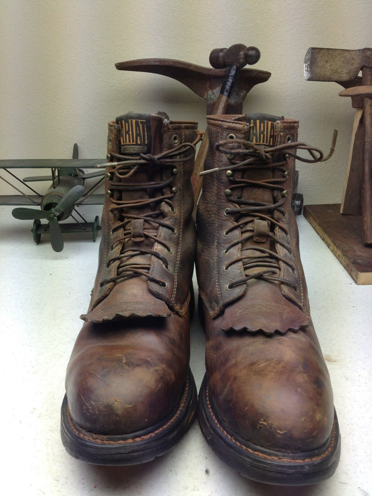 DISTRESSED BROWN LEATHER ARIAT LACE UP KILTIE KILTIE KILTIE WORK CHORE TRUCKER BOOTS SIZE 12EE 10bb85