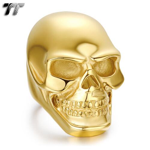 TT 14K Gold GP 316L S.Steel Skull Ring Extra Large 3 Colors Size 7-15 RZ45J
