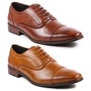 Metrocharm-MC126-Men-039-s-Cap-Toe-Perforated-Lace-Up-Oxford-Dress-Shoes